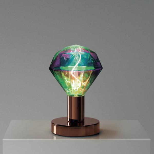 Medená kovová stolná lampa so žiarovkou DIAMANTE   Daylight Italia
