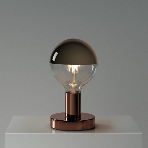 Medená kovová stolná lampa so zrkadlovou žiarovkou SPHERE COPPER | Daylight Italia