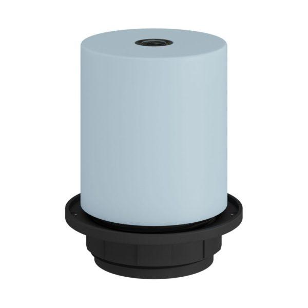 Pastelová kovová objímka pre tienidlo so skrytou káblovou svorkou vo svetlo modrej farbe,,