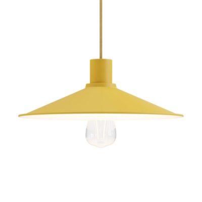 Pastelové kovové tienidlo v horčicovo žltej farbe, priemer 30cm,