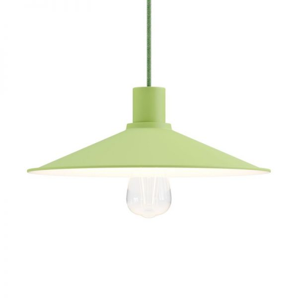 Pastelové kovové tienidlo vo svetlo zelenej farbe