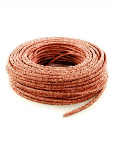 Kábel dvojžilový v podobe retro lana, oranžová juta, 2 x 0.75mm, 1 meter