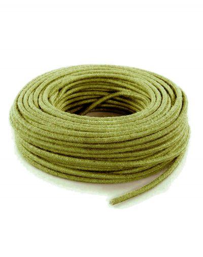 Kábel dvojžilový v podobe retro lana, zelená juta, 2 x 0.75mm, 1 meter