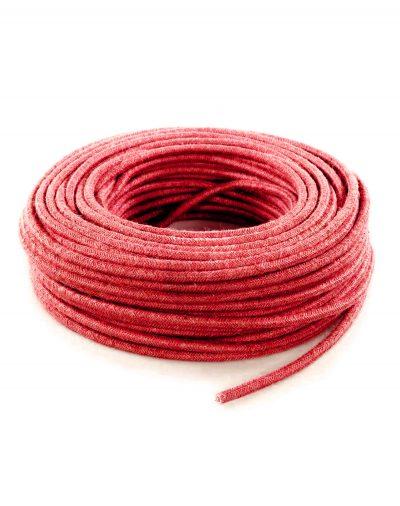 Kábel dvojžilový v podobe retro lana, červená juta, 2 x 0.75mm, 1 meter