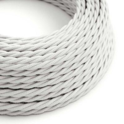 Elektrický kábel dvojžilový potiahnutý bavlnou v bielej farbe, 2 x 0.75mm, 1 meter