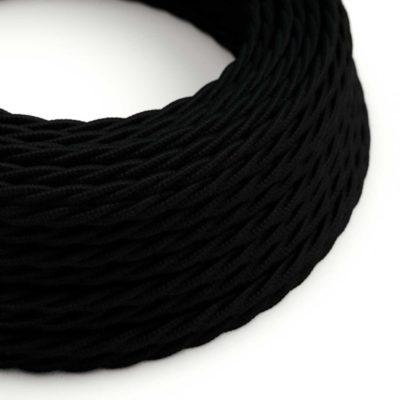 Elektrický kábel dvojžilový potiahnutý bavlnou v čiernej farbe, 2 x 0.75mm, 1 meter