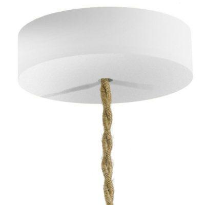 Drevená jednoduchá stropná rozeta pre textilné káble v bielej farbe