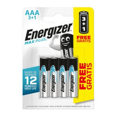 Energizer alkalické batérie Max Plus mikrotužkové AAA, LR03, FSB4, PROMO 3+1