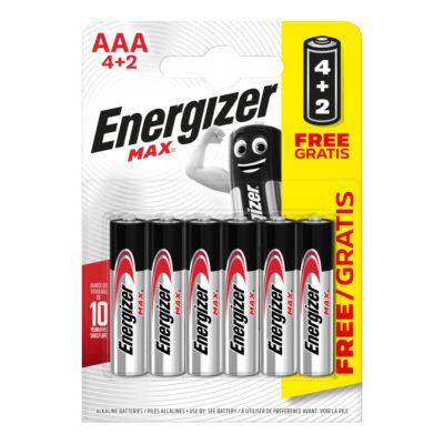 Energizer alkalické batérie Max mikrotužkové AAA 4+2