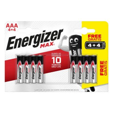 Energizer alkalické batérie Max mikrotužkové AAA:8 4+4