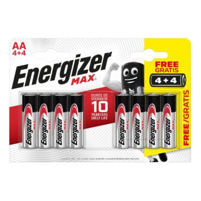 Energizer alkalické batérie Max tužkové AA:8 4+4