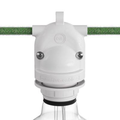 Exteriérová 2-pásmová objímka s možnosťou propojenia tienidla v bielej farbe