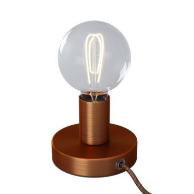 Kovová stolná lampa s textilným káblom, vypínačom a dvojpólovou zástrčkou - brúsená meď
