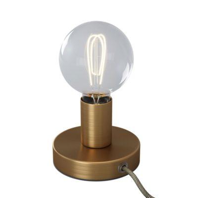 Kovová stolná lampa s textilným káblom, vypínačom a dvojpólovou zástrčkou - brúsený bronz